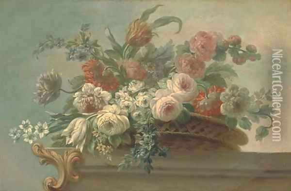 Summer flowers, including tulips, poppies and peonies, in a wicker basket, on a stone ledge Oil Painting - Jacob Bogdani