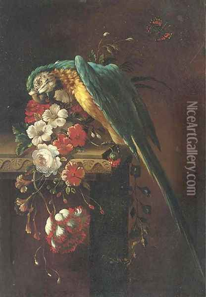 A macaw on a stone ledge, with poppies, flowers and a butterfly to the side Oil Painting - Jacob Bogdani