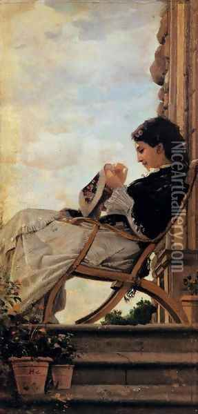 Woman Sewing on the Terrace Oil Painting - Cristiano Banti