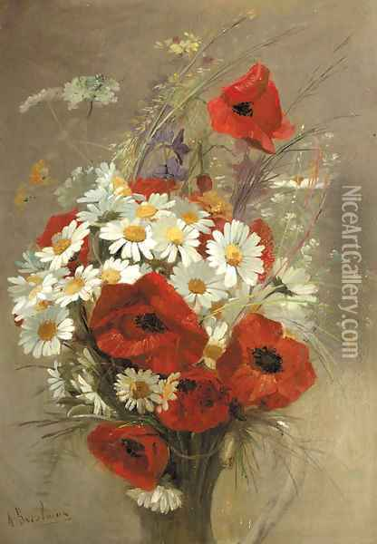 A still life of popies and daisies in a vase Oil Painting - Jacques-Alfred Brielman