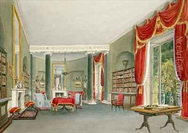 Library and Drawing Room at Bromley Hill, Kent (Seat of the Right Hon. Charles Long) Oil Painting - John Chessell Buckler