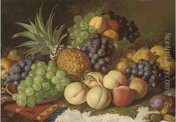 Grapes, peaches, pears, plums, apples, and a pineapple, on a ledge Oil Painting - Charles Thomas Bale