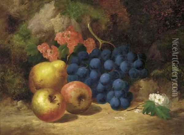 Apples, grapes, a pear and blossom, on a mossy bank Oil Painting - Charles Thomas Bale