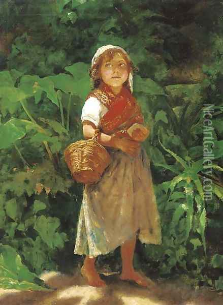 A Mediterranean waif standing in the shade Oil Painting - Achille Boschi