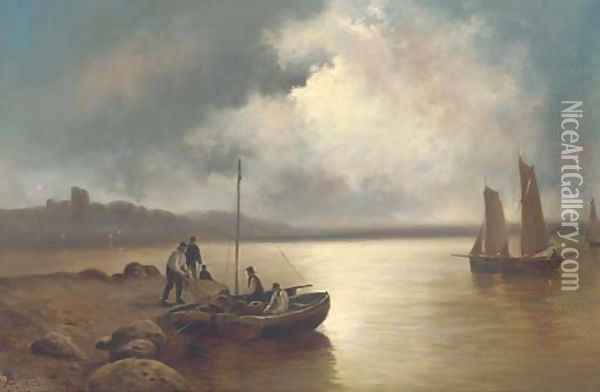 Unloading lobster pots at dusk Oil Painting - John Henry Boel