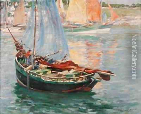 Concarneau, Drying the Nets Oil Painting - William Marshall Brown