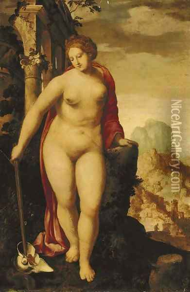 A Personification of Peace in a landscape with classical ruins, a city beyond Oil Painting - Jacob De Backer
