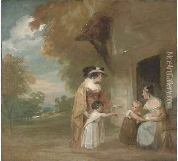 Lady Beechey and her children in a landscape Oil Painting - Sir William Beechey