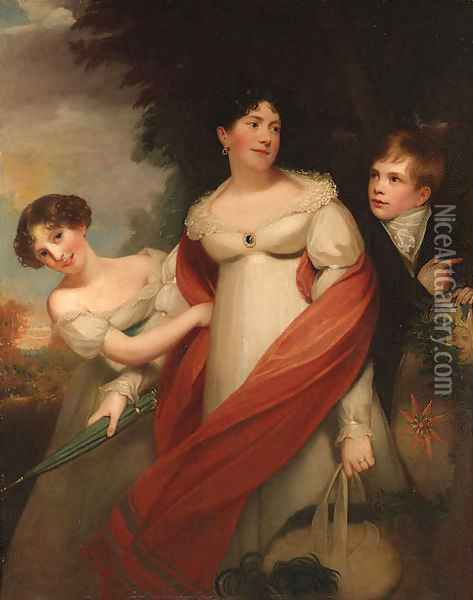 Portrait of a lady and her children Oil Painting - Sir William Beechey