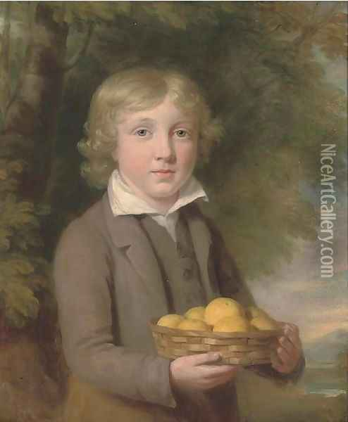 Portrait of a boy, half-length, wearing a brown suit and holding a basket of apples Oil Painting - Sir William Beechey