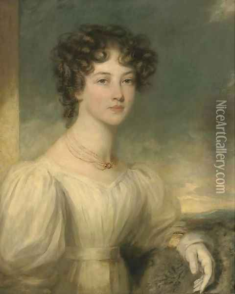Portrait of a lady, half-length, in a white dress Oil Painting - Sir William Beechey