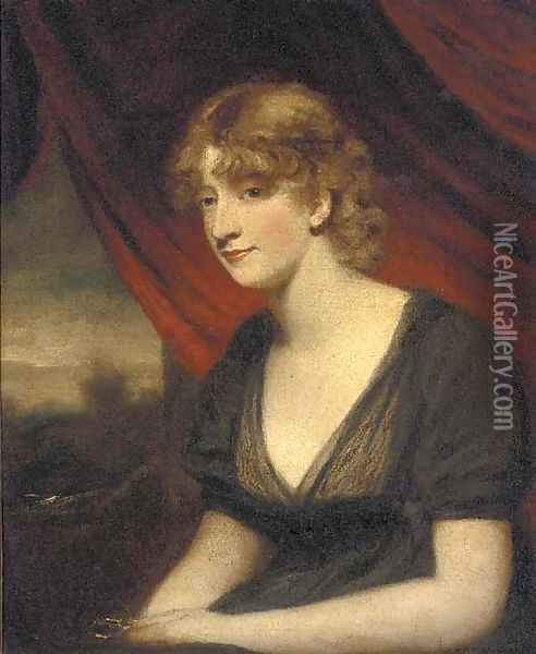 Portrait of a lady, seated half-length, in a black dress Oil Painting - Sir William Beechey