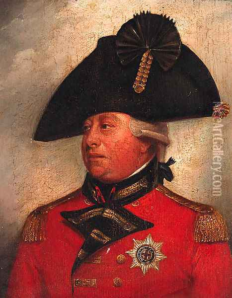 Portrait of George III, small quarter-length, in uniform Oil Painting - Sir William Beechey
