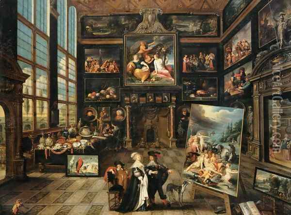 Interior of a Collector's Gallery of Paintings and Objets d'Art Oil Painting - Cornelis de Baellieur