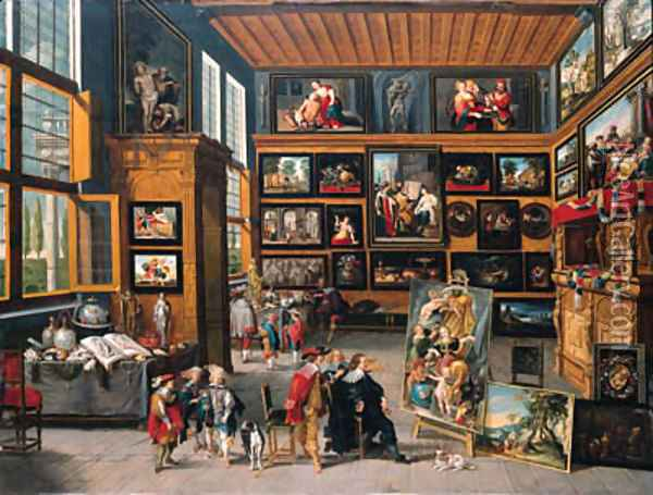 A spacious entrance hall the walls hung with pictures, collectors' items on tables, and an artist showing a painting to a connoisseur Oil Painting - Cornelis de Baellieur
