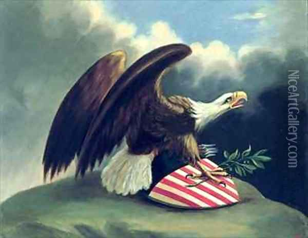 Bald Eagle and the Shield of the United States Oil Painting - David Bustille Bowser