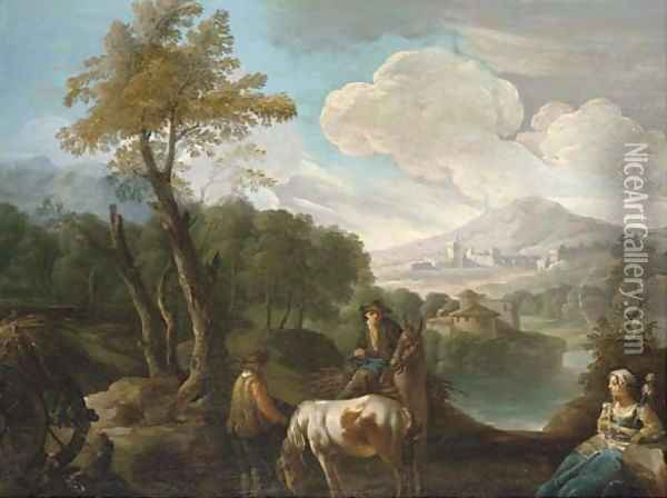 A landscape with farm labourers on a track, a lakeside town beyond Oil Painting - Giuseppe Bernardino Bison