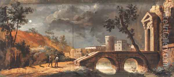 A moonlit capriccio of a classical town with travellers on a path by a bridge Oil Painting - Giuseppe Bernardino Bison