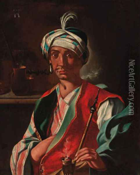 An Oriental man, in a plumed turban, smoking a hookah Oil Painting - Giuseppe Bonito
