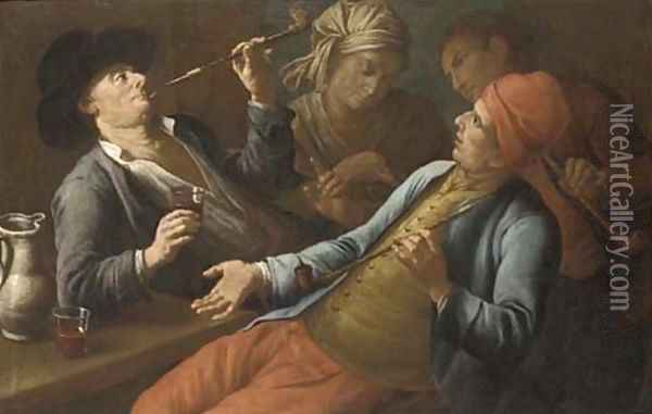 Peasants drinking and smoking in an interior Oil Painting - Giuseppe Bonito