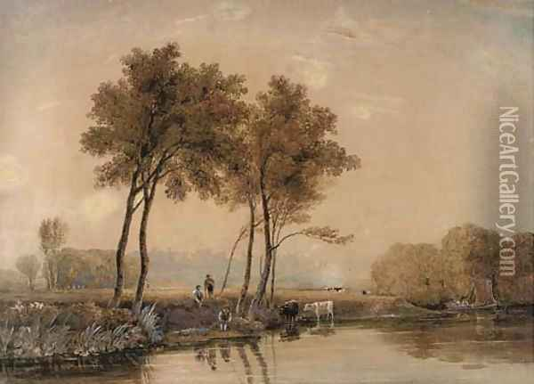 Anglers on the banks of the Thames before Windsor Castle Oil Painting - Ircle Of George Jun Barret