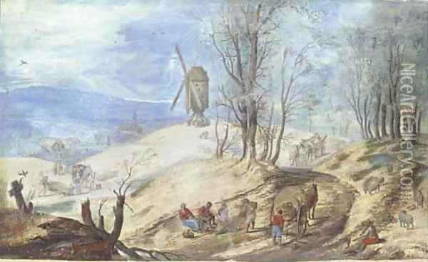 A hilly wooded landscape with a windmill Oil Painting - Jan The Elder Brueghel