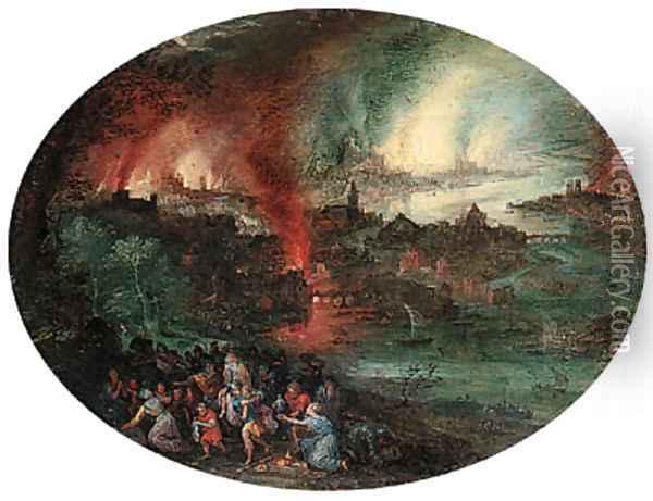 Aeneas rescuing Anchises from burning Troy Oil Painting - Jan The Elder Brueghel