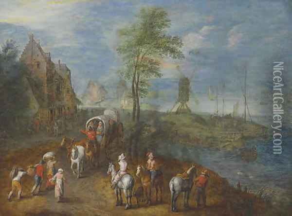 Travelers by the shore Oil Painting - Jan The Elder Brueghel