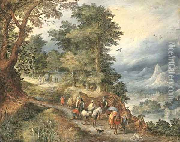 A mountainous landscape with travellers on a path Oil Painting - Jan The Elder Brueghel