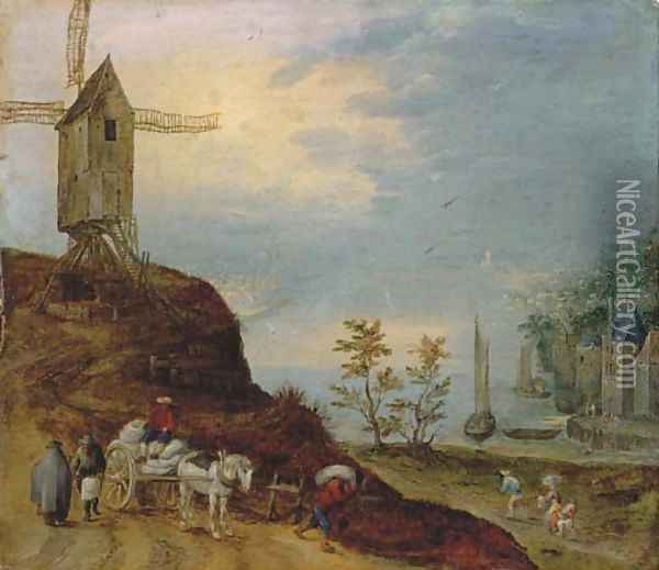 An extensive river landscape with a windmill and travellers on a path Oil Painting - Jan The Elder Brueghel