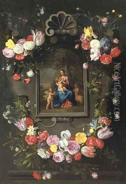 The Madonna and Child with Saint John the Baptist and an angel surrounded by a garland of mixed flowers Oil Painting - Jan The Elder Brueghel