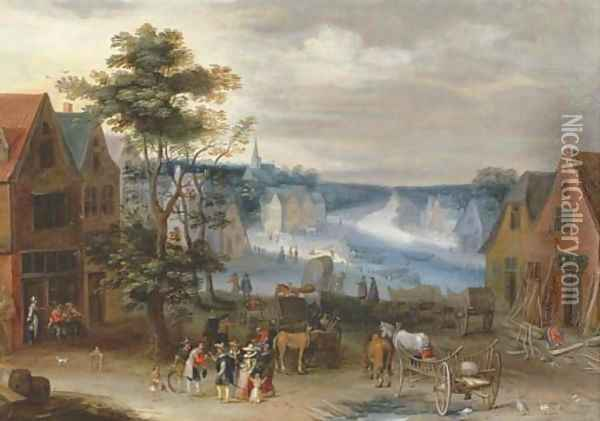 A village scene with a canal in the distance, said to be the Willebroek canal Oil Painting - Jan The Elder Brueghel