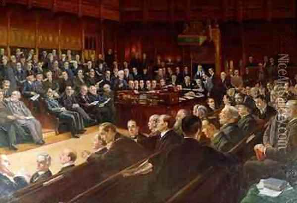 House of Commons in Debate Oil Painting - Leopold Braun