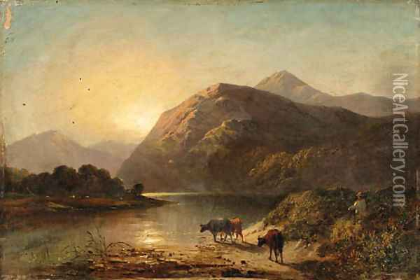 Cows by a highland lake Oil Painting - Alfred de Breanski