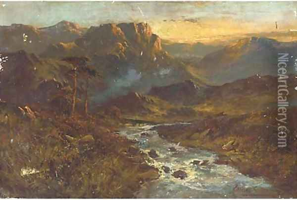 A stream from the hills, sunset Oil Painting - Alfred de Breanski