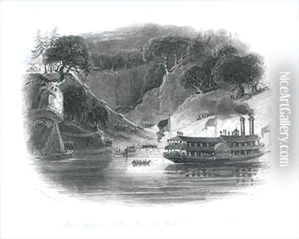 Slaves Shipping Cotton by Torch-Light, River Alambama Oil Painting - Brooke, William Henry