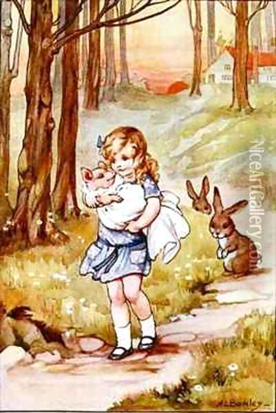 Alice and the Pig Baby Oil Painting - A.L. Bowley