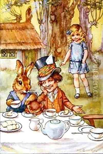The Mad Hatter's tea party Oil Painting - A.L. Bowley