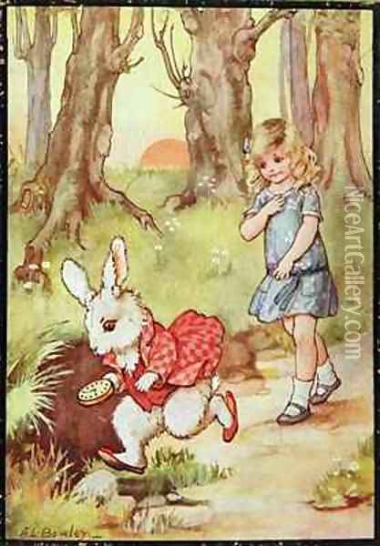 Alice and the White Rabbit Oil Painting - A.L. Bowley