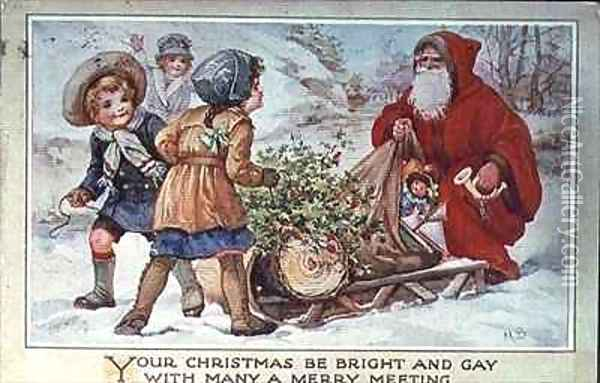 Children and Father Christmas with a Sleigh Oil Painting - A.L. Bowley