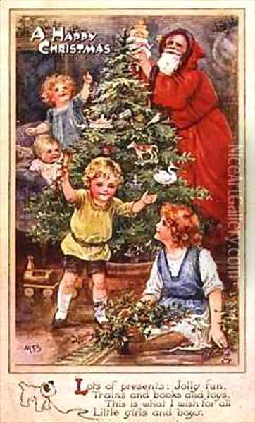 Children with the Christmas Tree Oil Painting - A.L. Bowley
