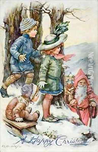 Father Christmas and Children in Snow Oil Painting - A.L. Bowley