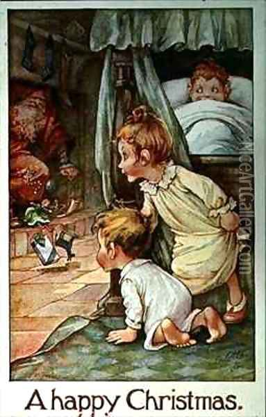 Postcard depicting Father Christmas and the Children's Stockings Oil Painting - A.L. Bowley