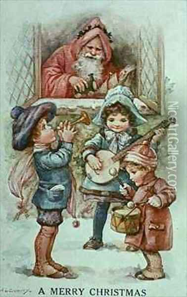 Christmas Carols Oil Painting - A.L. Bowley