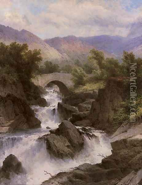 A waterfall in a mountainous landscape Oil Painting - George Law Beetholme
