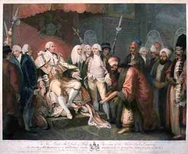His Majesty and Officers of State Receiving the Turkish Ambassador and Suit Oil Painting - Mather Brown
