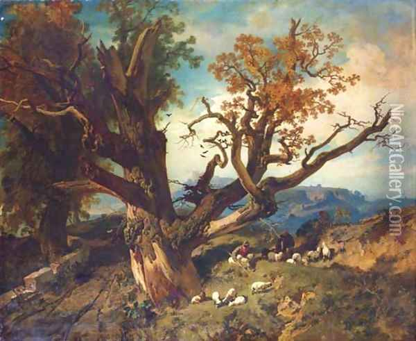 Shepherds with their flock in a mountainous landscape Oil Painting - School Of Barbizon