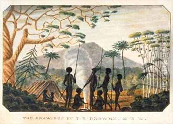 Group of aborigines around a campfire Oil Painting - T.R. Browne