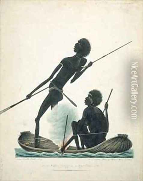 Natives fishing in a bark canoe Oil Painting - T.R. Browne