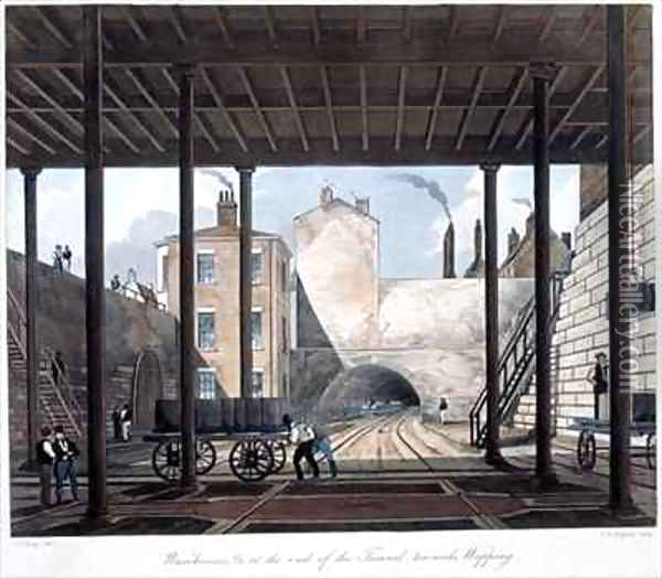 Warehouses and Works at the End of the Tunnel towards Wapping Oil Painting - Thomas Talbot Bury